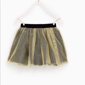 Zara girl collection gold tulle metallic skirt